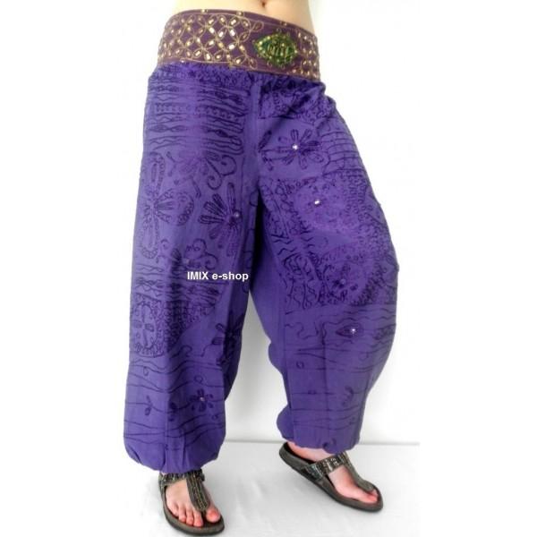 Harémové vyšívané bavlněné kalhoty