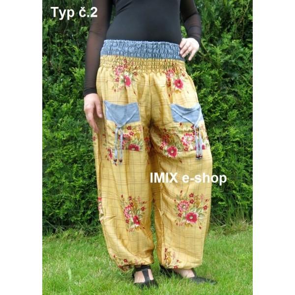 Hedvábné tenké harémové kalhoty s kapsami