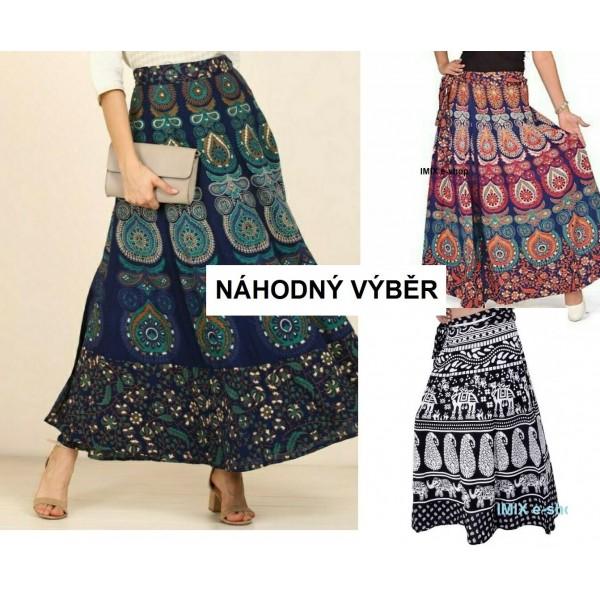 Zavinovací etno bavlněná sukně - více barev