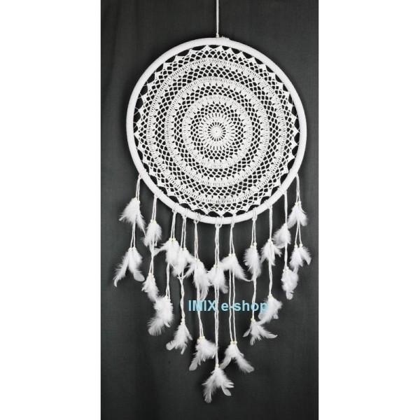 Největší lapač snů bílý velký střed 50 cm