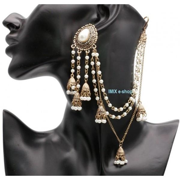 Bollywood náušnice s prověšením do vlasů - 1 ks