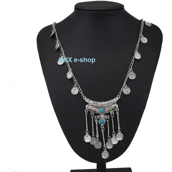 Penízkový náhrdelník Tribal dlouhý (modrý, černý)