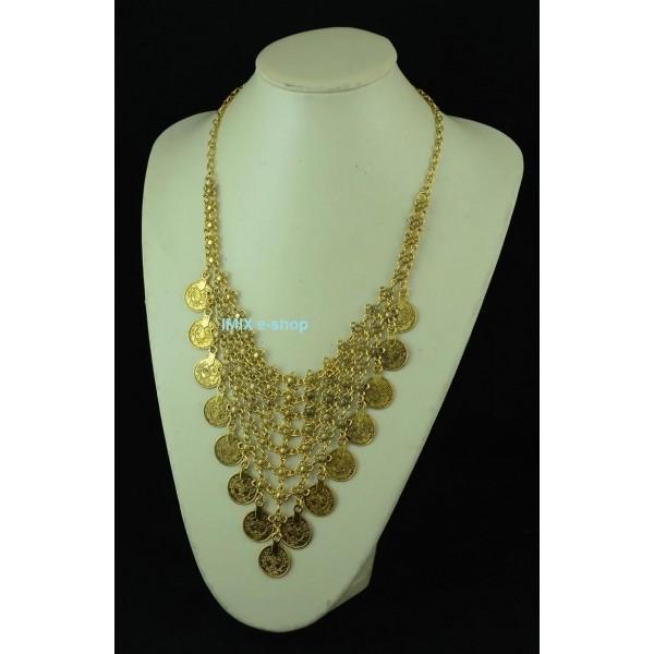 Kovový mohutný náhrdelník do dekoltu s penízky
