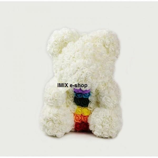 Medvěd z růží s čakrou velký - bílý