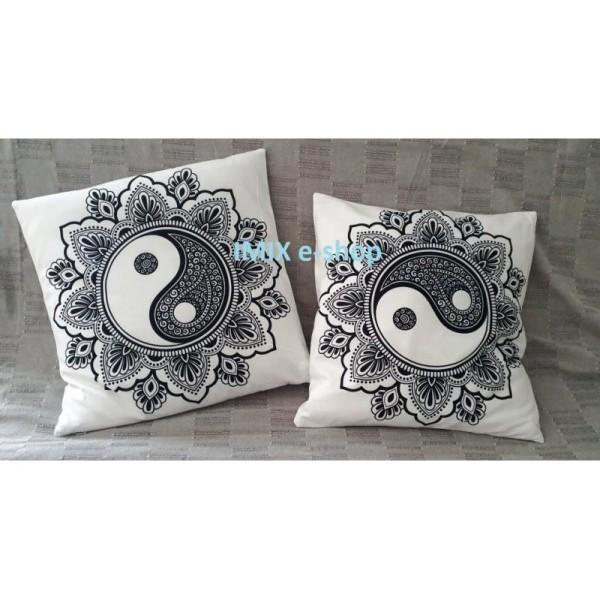Orientální povlak na polštář - MANDALA black/white