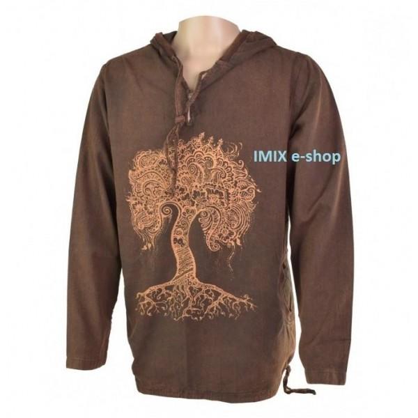 Pánská mikina Etno strom života -  hnědá vel.L