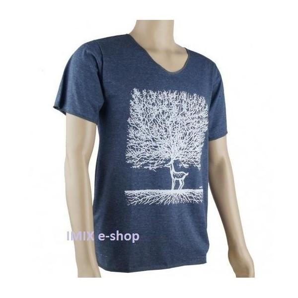 Pánské tričko s jelenem - Modro-šedá, vel. L