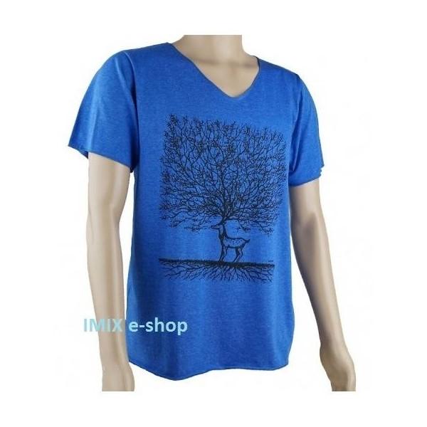 Pánské tričko s jelenem - Modrá, vel. L