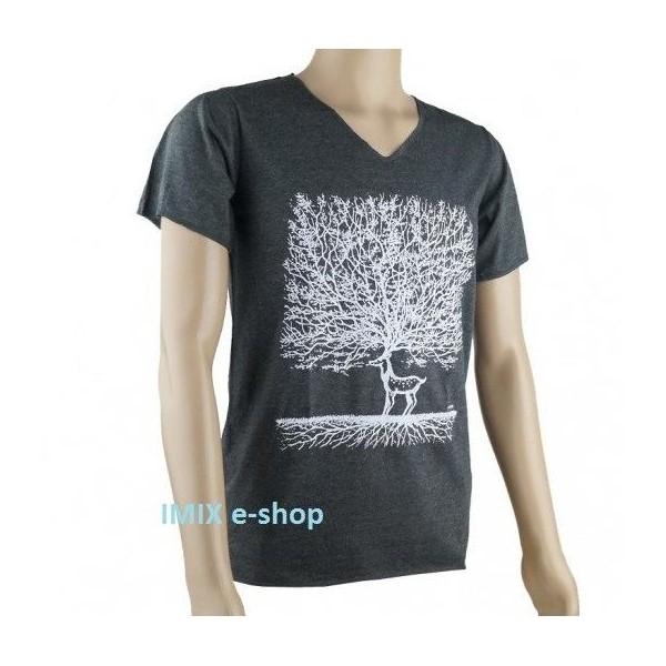 Pánské tričko s jelenem - Černá, vel. M