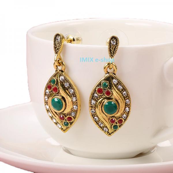 Drobné zdobené zlaté Bollywood náušnice se zirkony