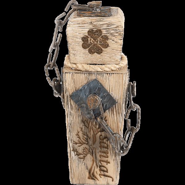 Luxusní parfém Santal v drásaném dřevě s kovovými řetízky - 30 ml