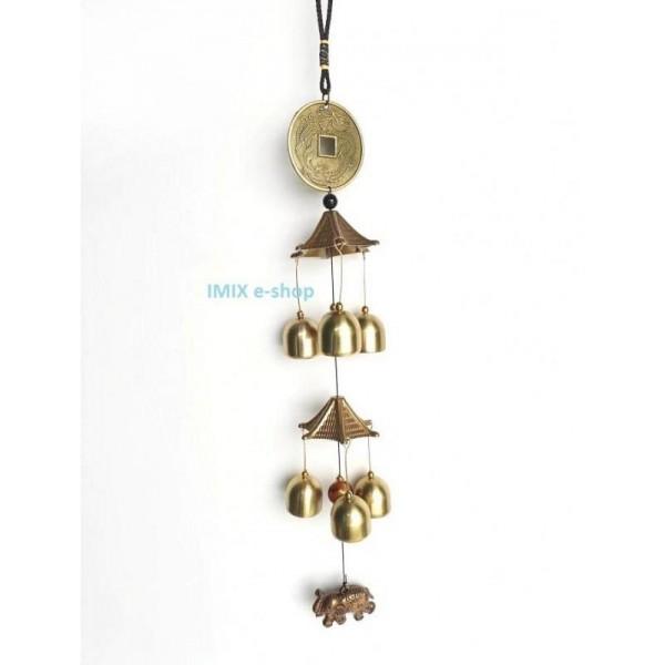 Zvonkohra s ochrannou mincí a slonem pro štěstí Feng Shui