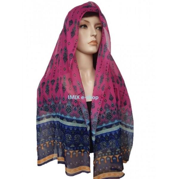 Šátek šifónový s orientálním motivem tmavě růžový