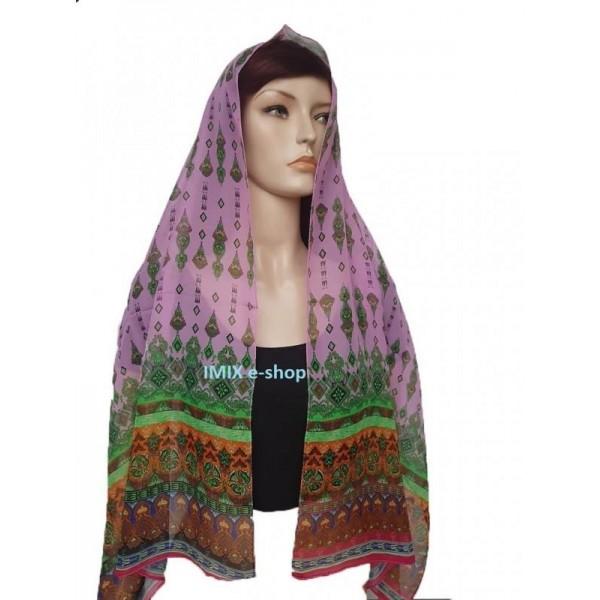 Šátek s orientálním motivem světle růžová