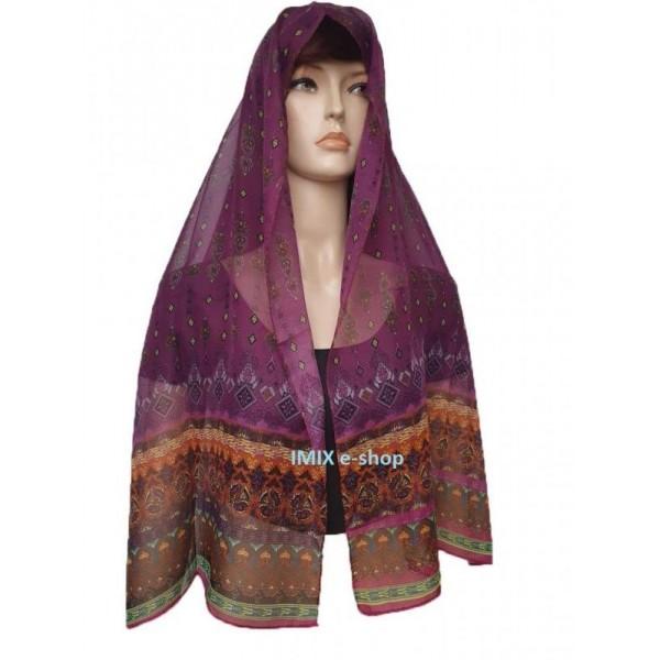 Šátek s orientálním motivem tmavě fialová