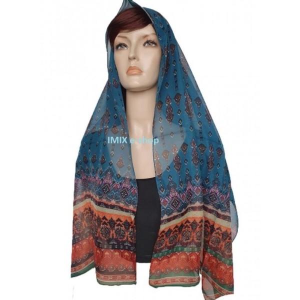 Šátek s orientálním motivem tmavě tyrkysová