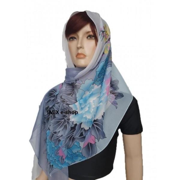 Šátek lehký šifónový s květy modro-šedý