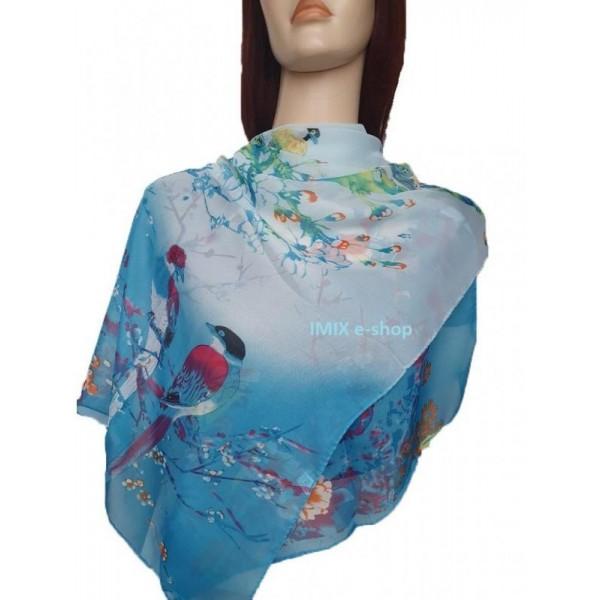 Šátek lehký šifónový japonská Sakura s ptáčky modrý