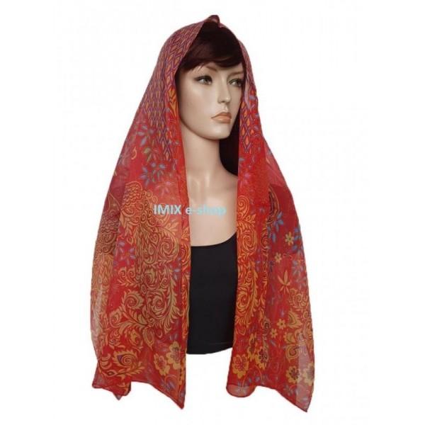 Šátek lehký šifónový s orientálními vzory s květy a pávy - červený