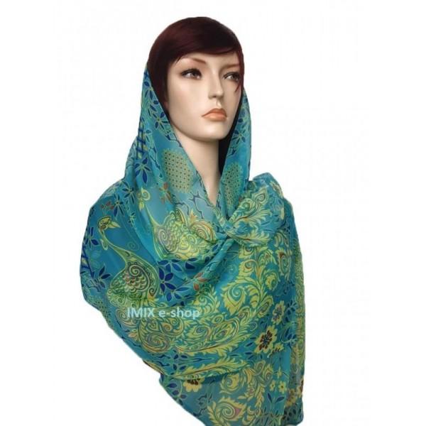 Šátek lehký šifónový s orientálními vzory s květy a pávy - modrozelený