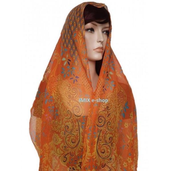 Šátek lehký šifónový s orientálními vzory s květy a pávy - oranžový