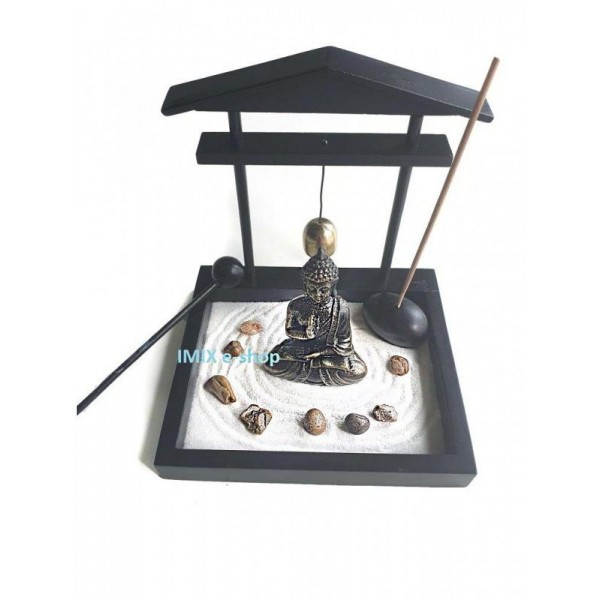 Buddhova zenová zahrada miniaturní Feng Shui set na vonné tyčinky