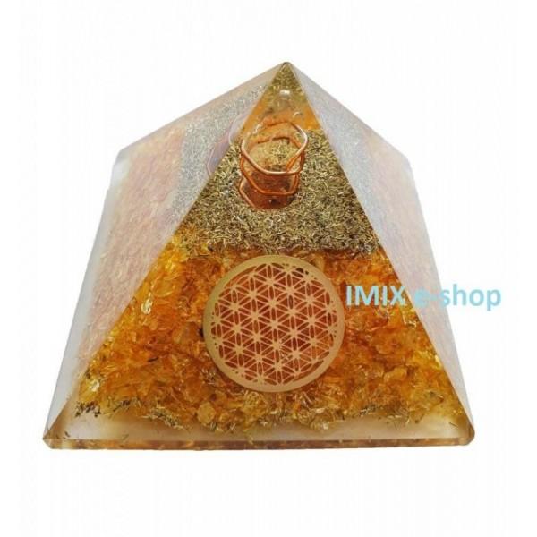 Orgonitová pyramida Slunce v duši s květem života 6,5x6,5 cm