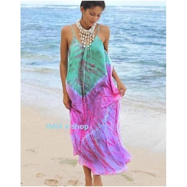 Dámské letní dlouhé šaty na ramínka batikované