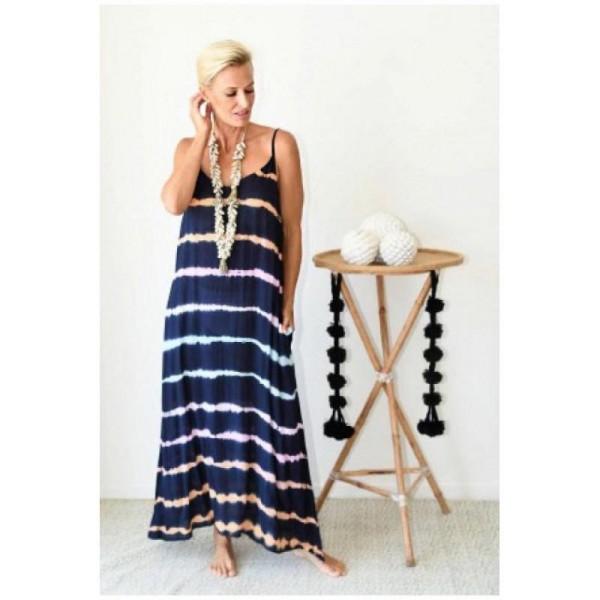 Dámské letní dlouhé tmavé šaty na ramínka batikované s barevnými proužky