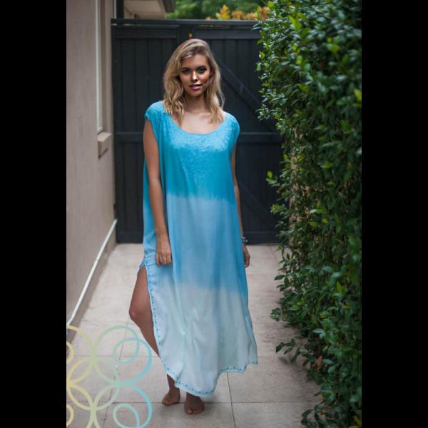 Dámské letní volné batikované šaty s výšivkou