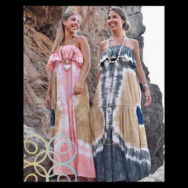 Dámské Boho letní dlouhé batikované šaty bez ramínek prošívané