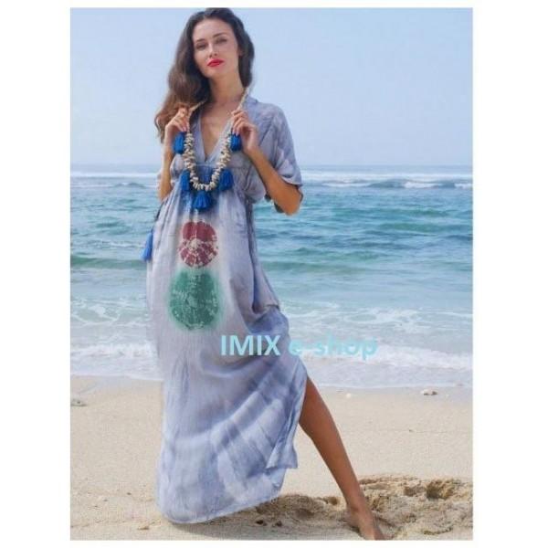 Dámské letní plážové dlouhé šaty s rukávem batikované
