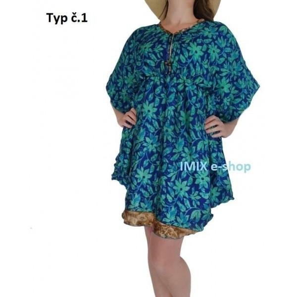 Hedvábný letní Top volný kaftan/krátké šaty - více barev