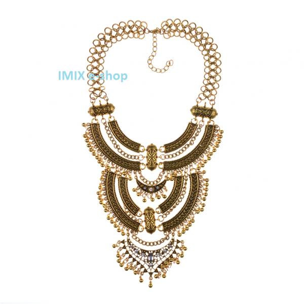Tribal Boho mohutný náhrdelník v retro stylu extra dlouhý