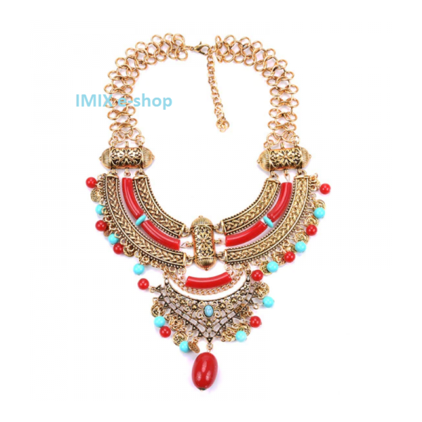 Kovový Boho filigránový náhrdelník velký zlato-červený