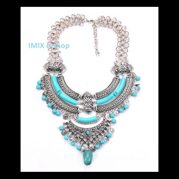 Kovový Boho filigránový náhrdelník velký stříbrno-modrý