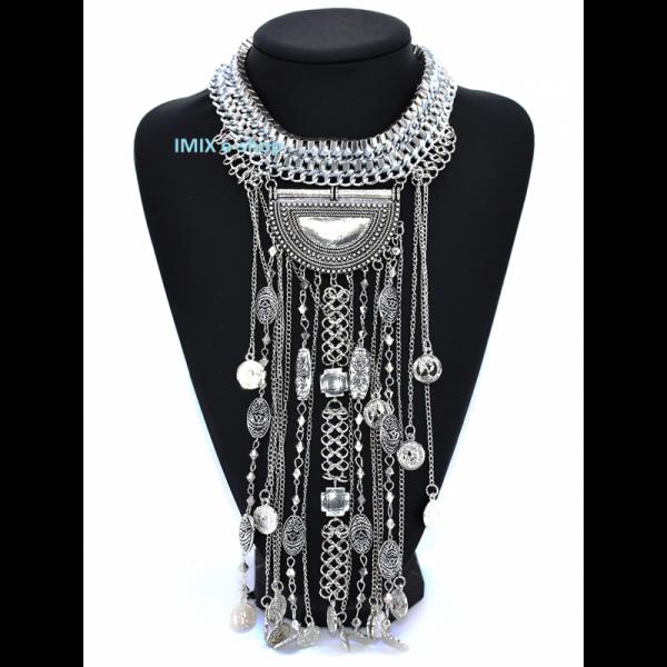 Tribal Boho extra dlouhý náhrdelník v retro stylu s penízky