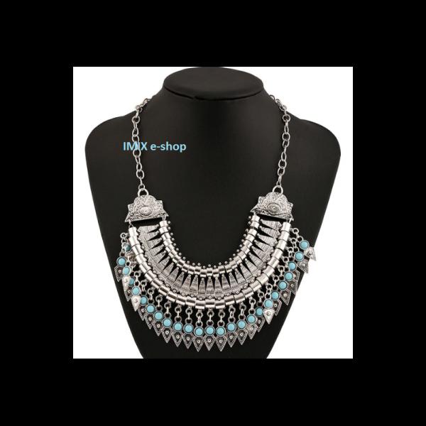 Dámský stylový široký Vintage náhrdelník s tyrkysovými kameny