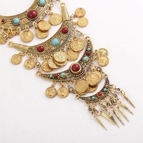 Tribal dlouhý Boho náhrdelník v moderním stylu s penízky a kameny
