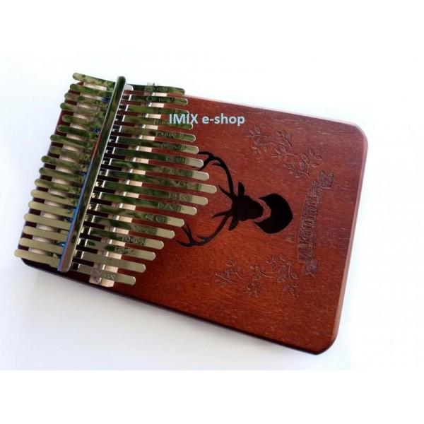 Kalimba hudební nástroj 17 tónů včetně příslušenství - mahagon