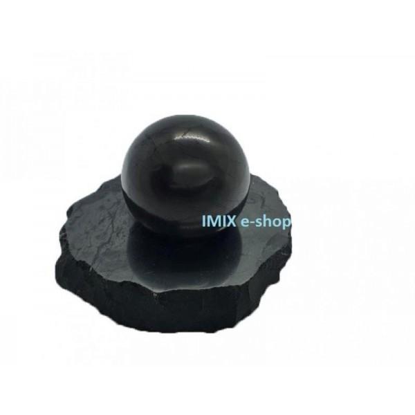Sada šungitová koule 3 cm s leštěným podstavcem