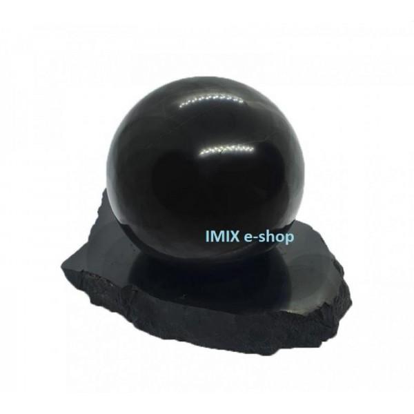Sada šungitová koule 7 cm s leštěným podstavcem