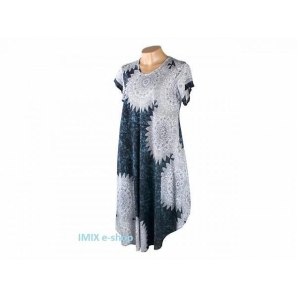 Dámské volné letní šaty s rukávkem a vzorem Mandaly