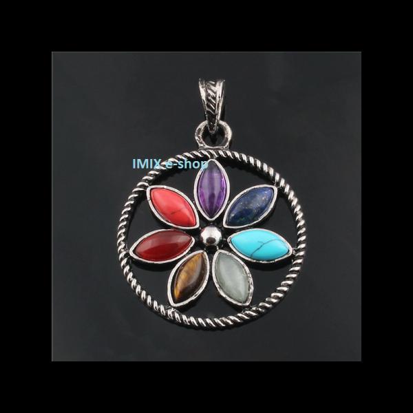Čakrový přívěšek Květ v kruhu s velkými broušenými kameny