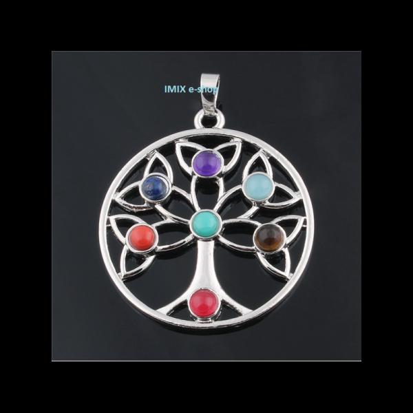 Čakrový přívěšek Strom života s broušenými kameny