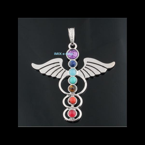 Velký čakrový přívěšek Andělská křídla s broušenými kameny