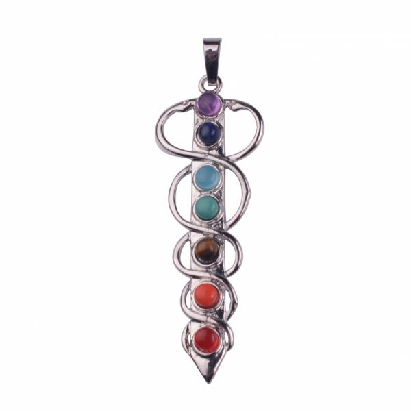 Čakrový přívěšek se symbolem lékařství Aeskulapova hůl s kameny
