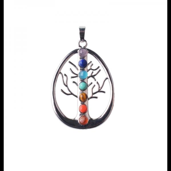 Čakrový přívěšek Strom života oválku s broušenými kameny