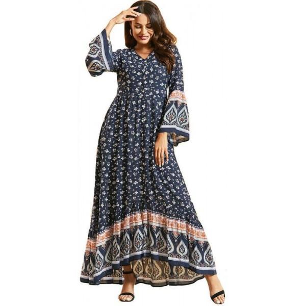 Orientální letní Abaya dlouhé šaty se vzorem