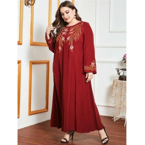 Orientální dlouhé červené Abaya šaty s výšivkou